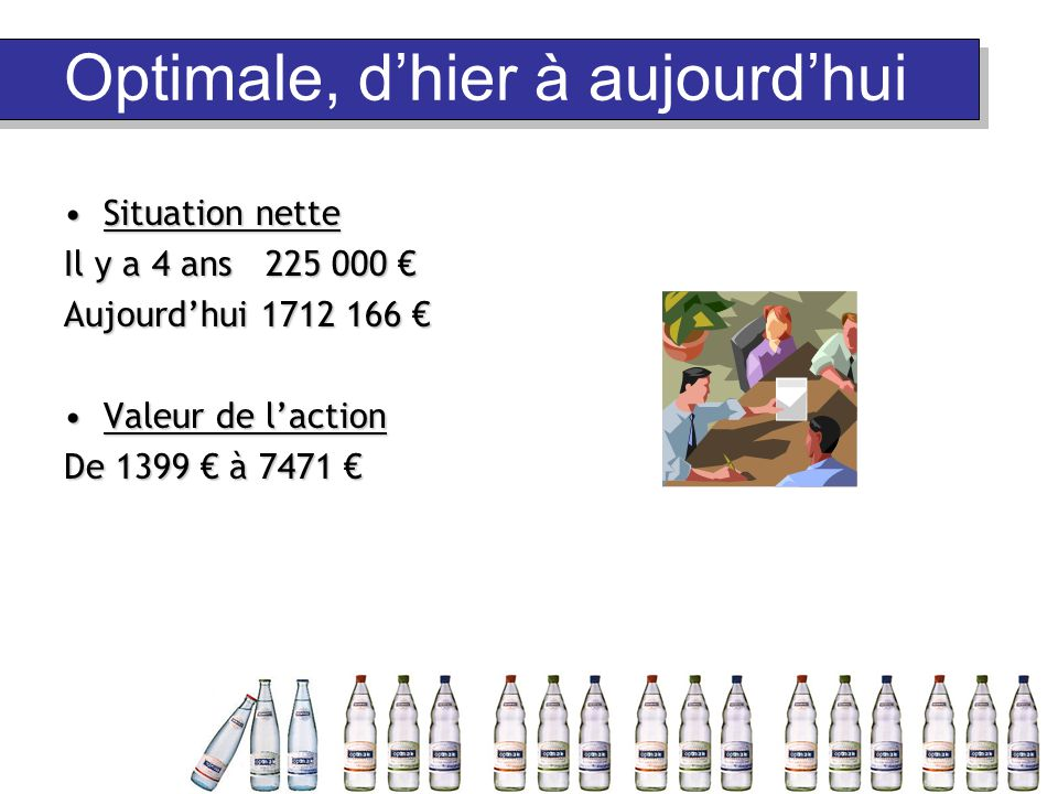 Optimale en quelques chiffres Des résultats : 255 469 bouteilles vendues 552 embauches, un foyer d'emploi majeur Une ambition : 20 % minimum des parts de marché pour l'eau plate Un positionnement haut de gamme pour l'eau gazeuse Une équipe