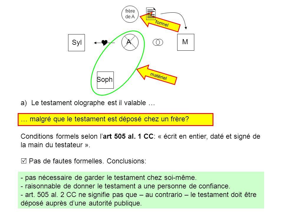 a)Le testament olographe est il valable … formel matériel MA frère de A  Syl Soph  Conditions formels selon l'art 505 al.