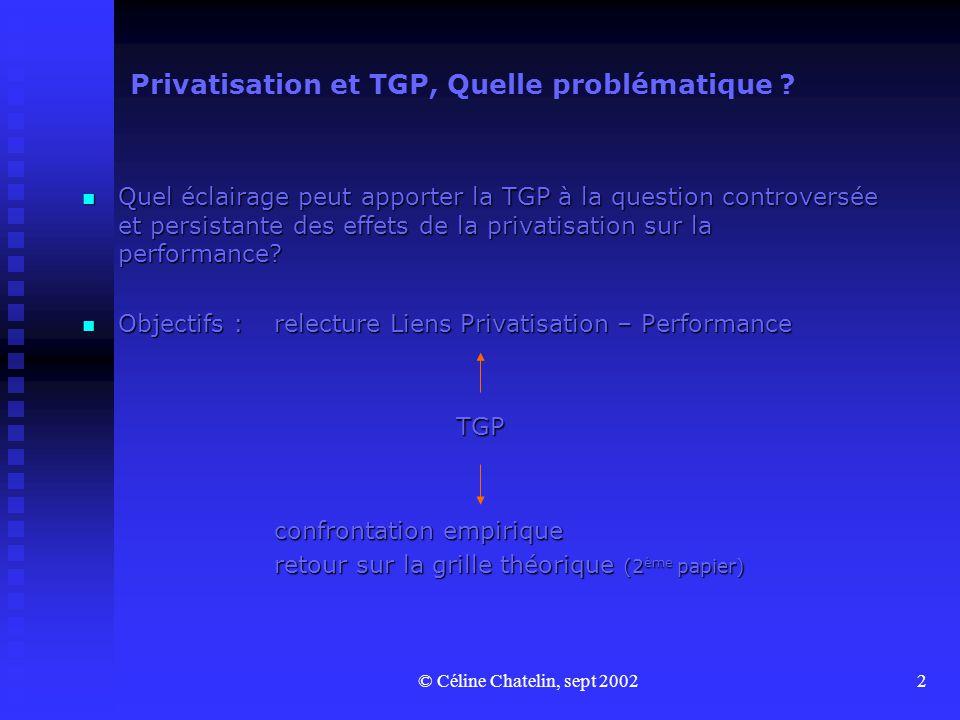 © Céline Chatelin, sept 20022 Privatisation et TGP, Quelle problématique ? Quel éclairage peut apporter la TGP à la question controversée et persistan