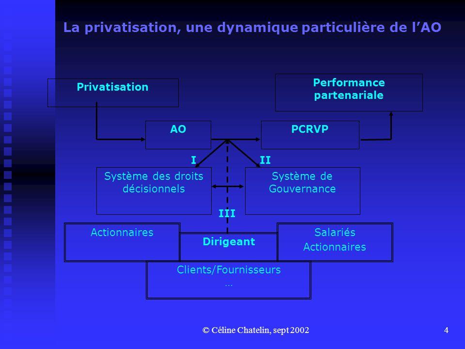 © Céline Chatelin, sept 20024 La privatisation, une dynamique particulière de l'AO Privatisation AOPCRVP Performance partenariale Système des droits d