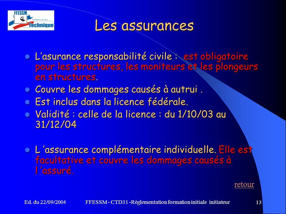 Ed. du 22/09/2004FFESSM - CTD31 -Règlementation formation initiale initiateur 13 Les assurances L'asurance responsabilité civile : est obligatoire pou