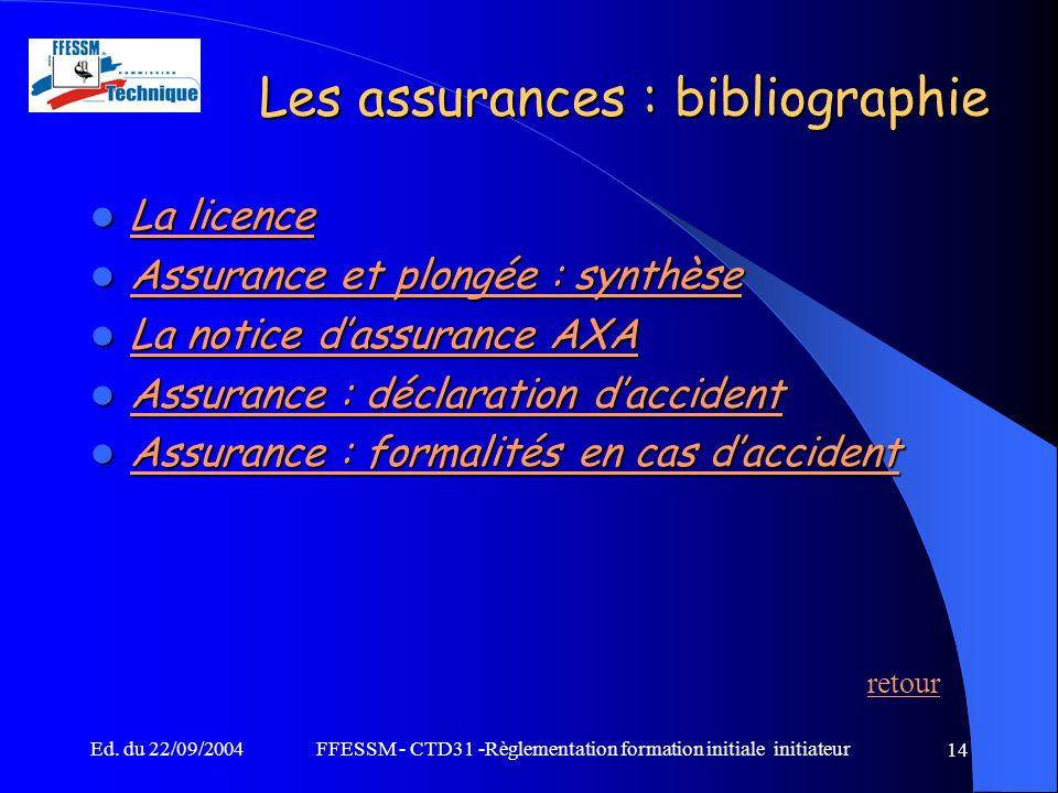 Ed. du 22/09/2004FFESSM - CTD31 -Règlementation formation initiale initiateur 14 Les assurances : bibliographie La licence La licence La licence La li