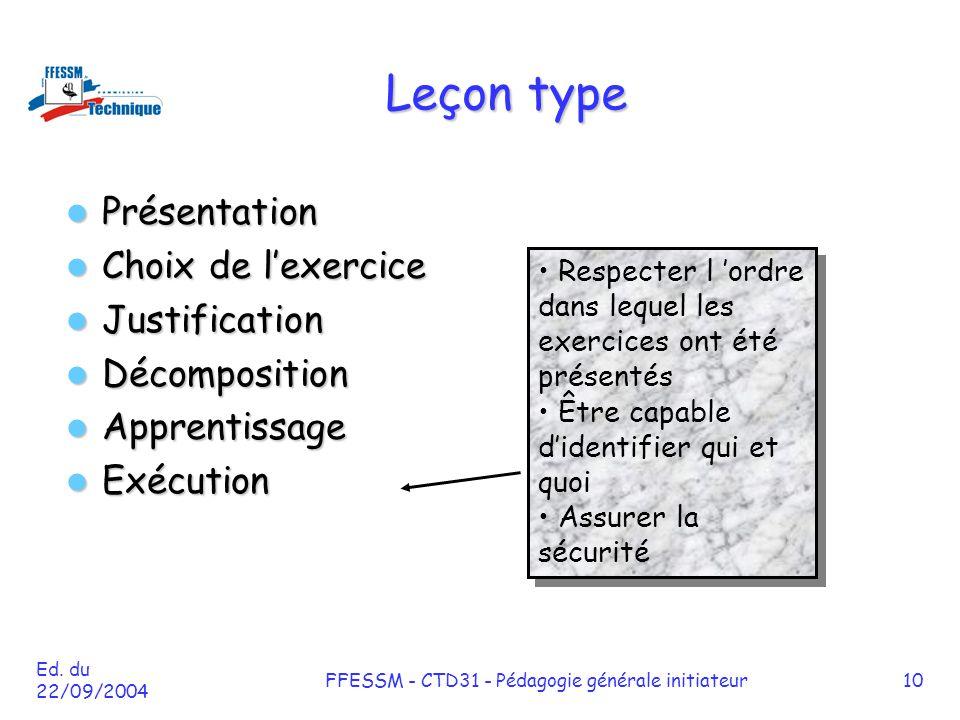 Ed. du 22/09/2004 FFESSM - CTD31 - Pédagogie générale initiateur10 Leçon type Présentation Présentation Choix de l'exercice Choix de l'exercice Justif