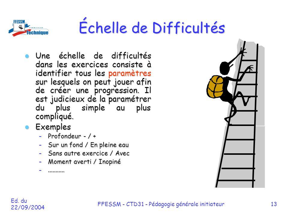 Ed. du 22/09/2004 FFESSM - CTD31 - Pédagogie générale initiateur13 Échelle de Difficultés Une échelle de difficultés dans les exercices consiste à ide