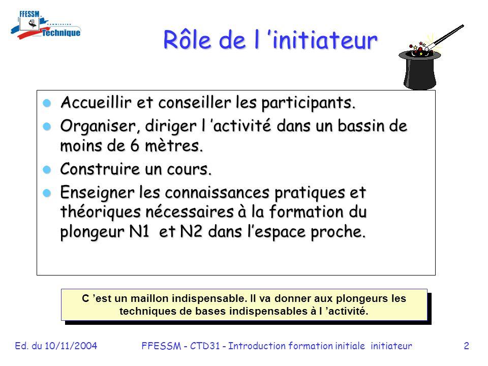 Ed. du 10/11/2004FFESSM - CTD31 - Introduction formation initiale initiateur2 Rôle de l 'initiateur Accueillir et conseiller les participants. Accueil