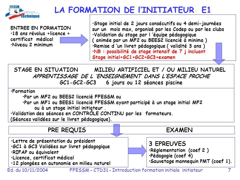 Ed. du 10/11/2004FFESSM - CTD31 - Introduction formation initiale initiateur7 ENTREE EN FORMATION 18 ans révolus +licence + certificat médical Niveau