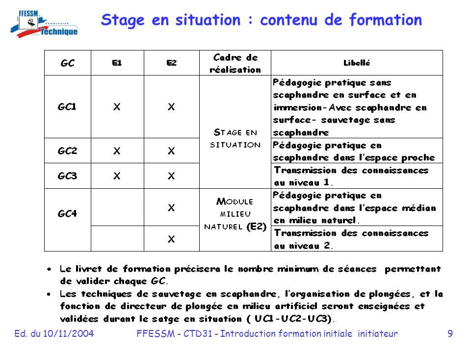 Ed. du 10/11/2004FFESSM - CTD31 - Introduction formation initiale initiateur9 Stage en situation : contenu de formation