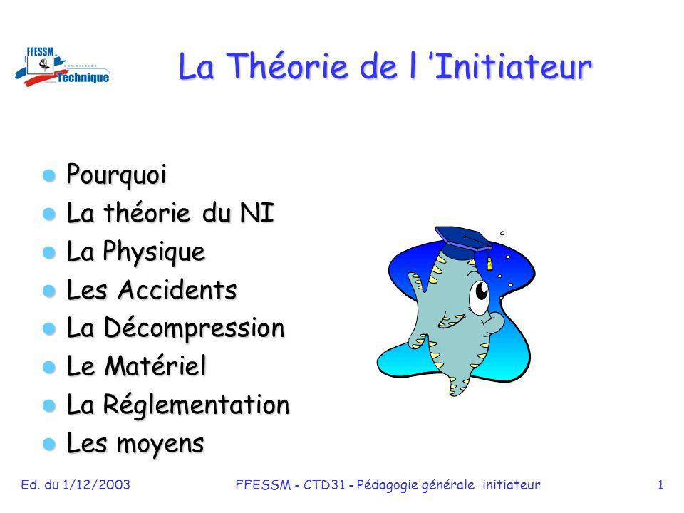 Ed. du 1/12/2003FFESSM - CTD31 - Pédagogie générale initiateur1 La Théorie de l 'Initiateur Pourquoi Pourquoi La théorie du NI La théorie du NI La Phy