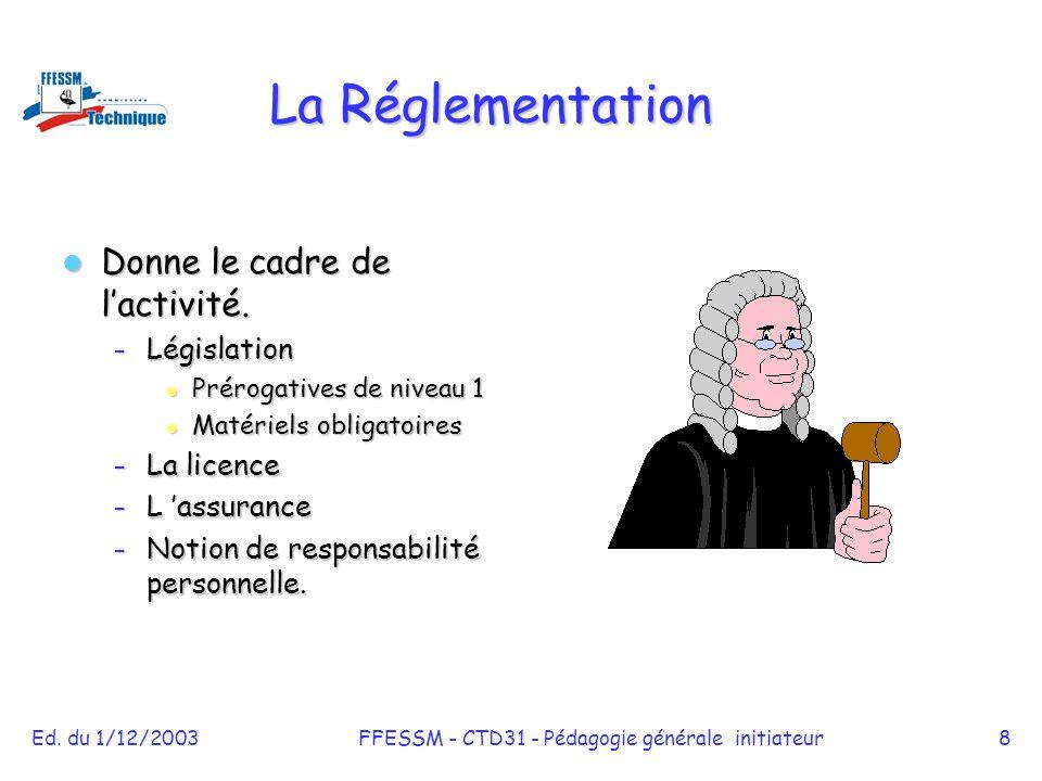 Ed. du 1/12/2003FFESSM - CTD31 - Pédagogie générale initiateur8 La Réglementation Donne le cadre de l'activité. Donne le cadre de l'activité. – Législ