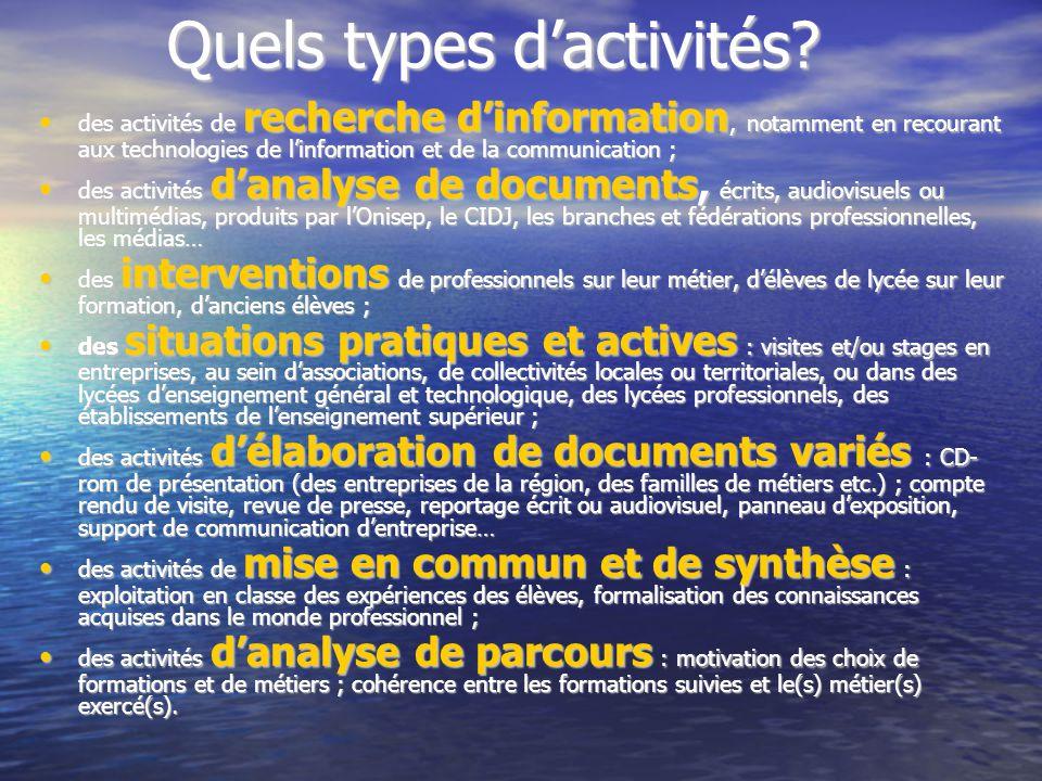 Quels types d'activités? Quels types d'activités? des activités de recherche d'information, notamment en recourant aux technologies de l'information e