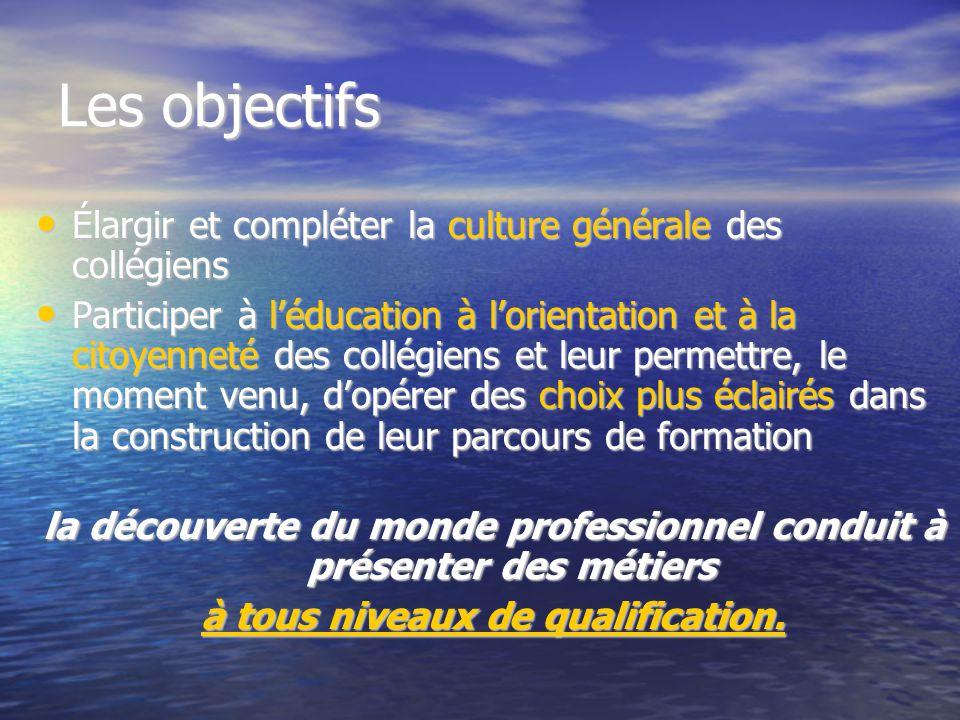 Les objectifs Élargir et compléter la culture générale des collégiens Élargir et compléter la culture générale des collégiens Participer à l'éducation