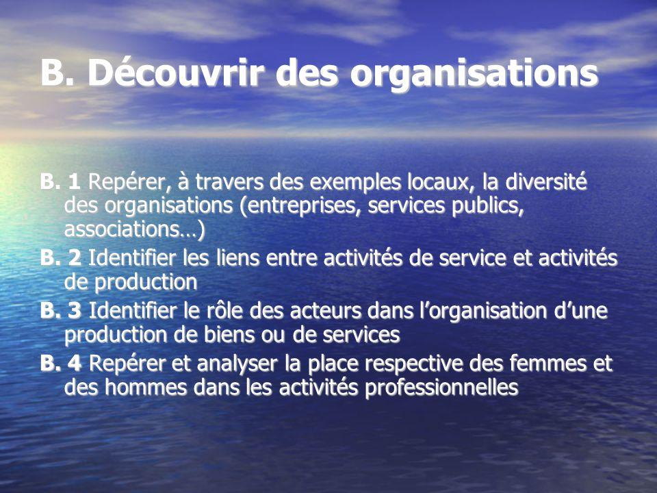 B. Découvrir des organisations B. 1 Repérer, à travers des exemples locaux, la diversité des organisations (entreprises, services publics, association