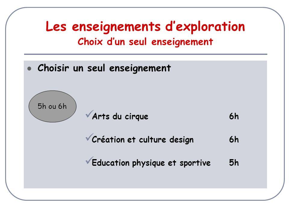 Choisir un seul enseignement Arts du cirque6h Création et culture design6h Education physique et sportive5h Les enseignements d'exploration Choix d'un seul enseignement 5h ou 6h