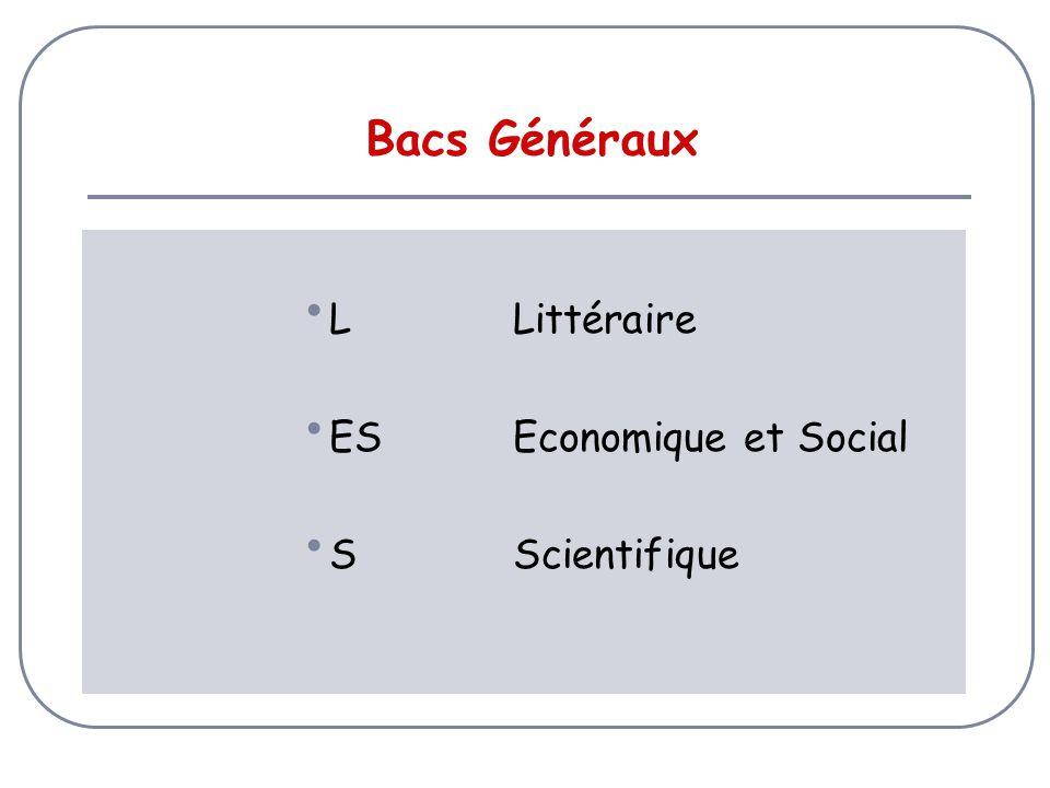 Bacs Généraux LLittéraire ESEconomique et Social SScientifique