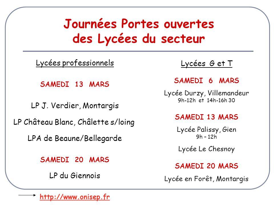 Journées Portes ouvertes des Lycées du secteur Lycées professionnels SAMEDI 13 MARS LP J.