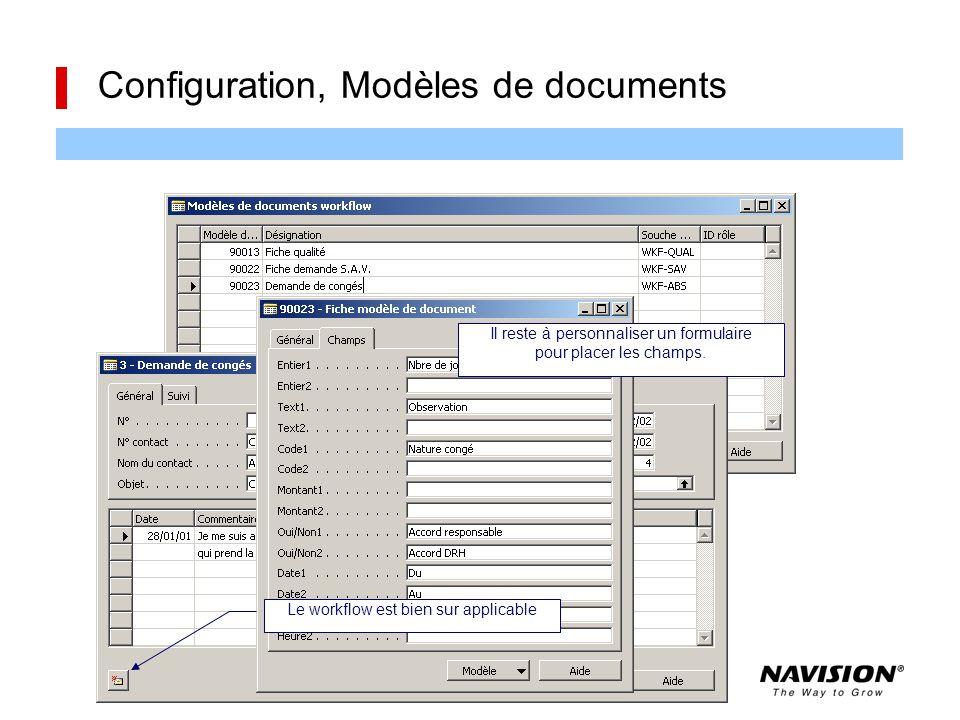 Configuration, Modèles de documents Il reste à personnaliser un formulaire pour placer les champs. Le workflow est bien sur applicable
