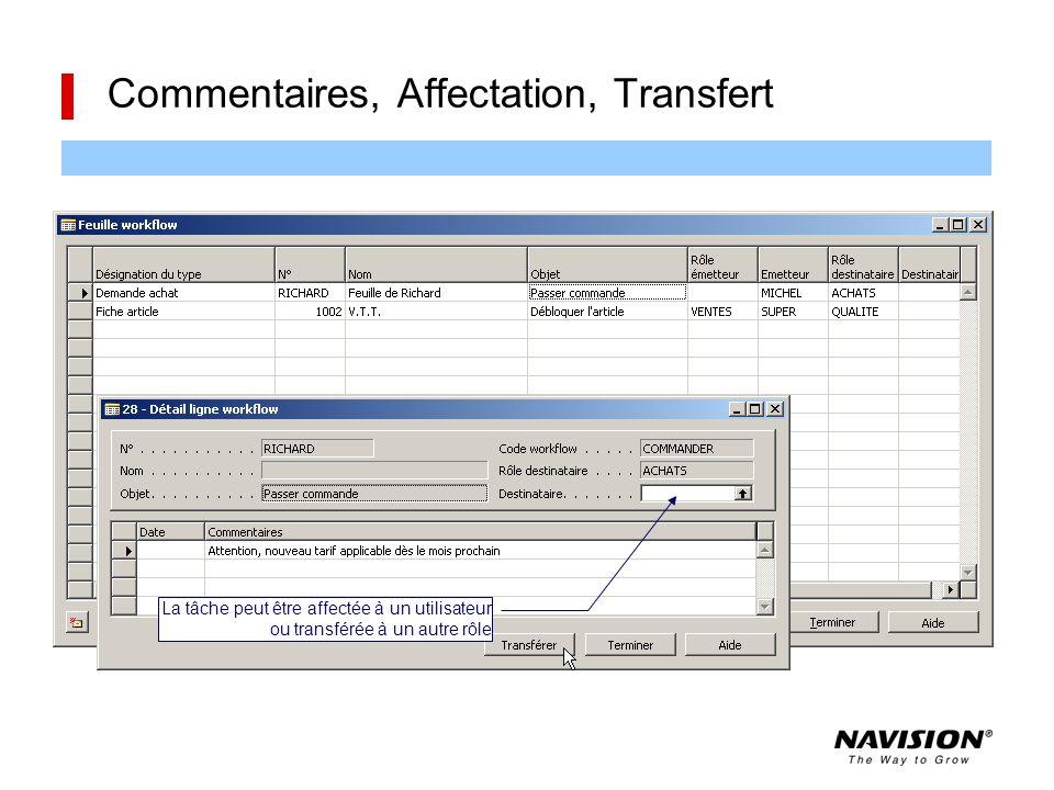Commentaires, Affectation, Transfert L'icône signale la présence de commentaires et donne accès à la fiche La tâche peut être affectée à un utilisateu