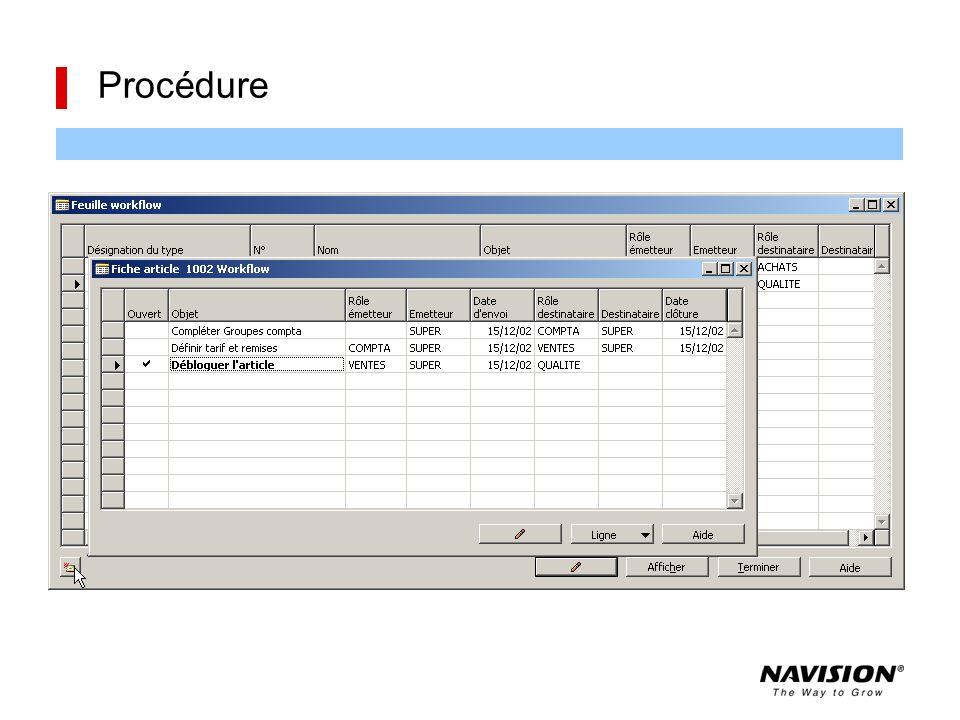 Procédure Une procédure permet de définir un enchaînement d'opérations