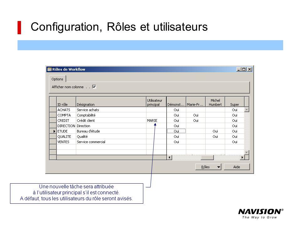 Configuration, Rôles et utilisateurs Une nouvelle tâche sera attribuée à l'utilisateur principal s'il est connecté. A défaut, tous les utilisateurs du