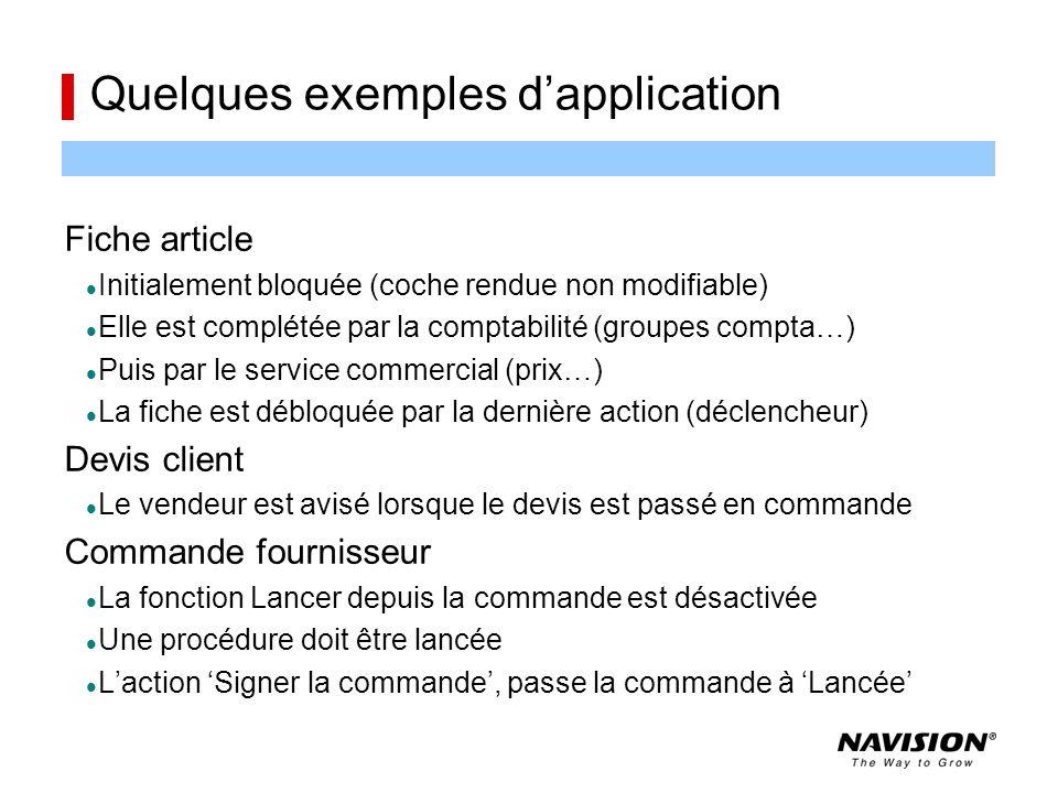 Quelques exemples d'application Fiche article Initialement bloquée (coche rendue non modifiable) Elle est complétée par la comptabilité (groupes compt