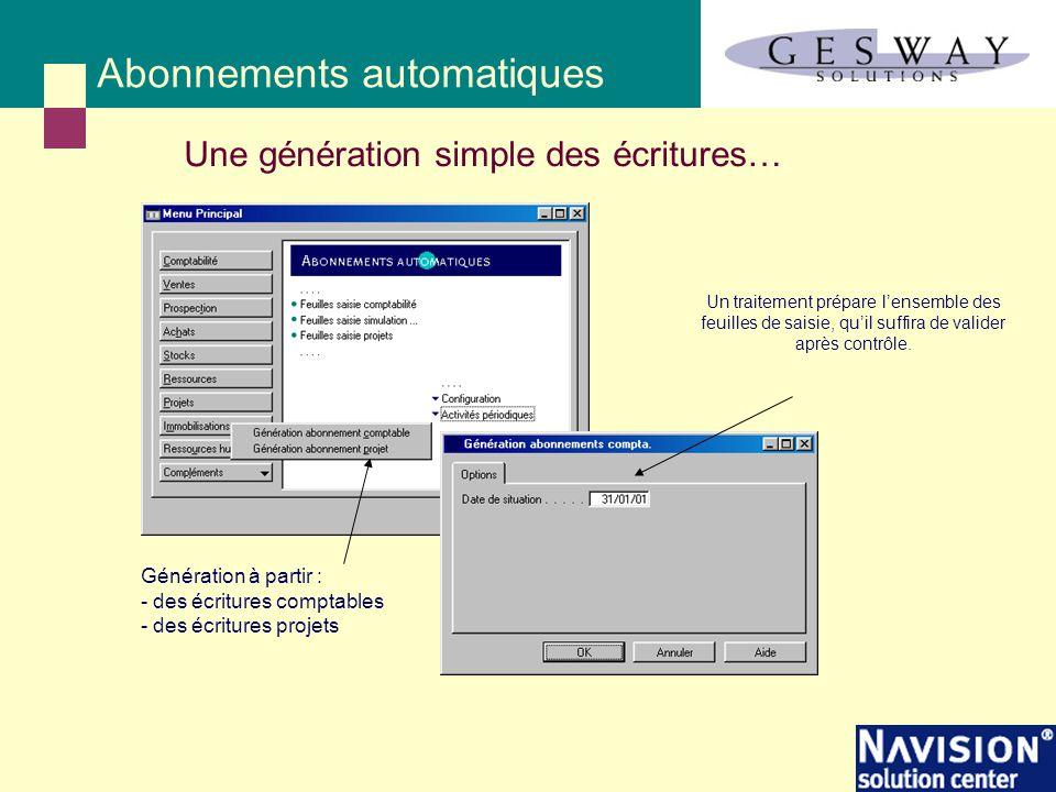Abonnements automatiques Une génération simple des écritures… Génération à partir : - des écritures comptables - des écritures projets Un traitement p