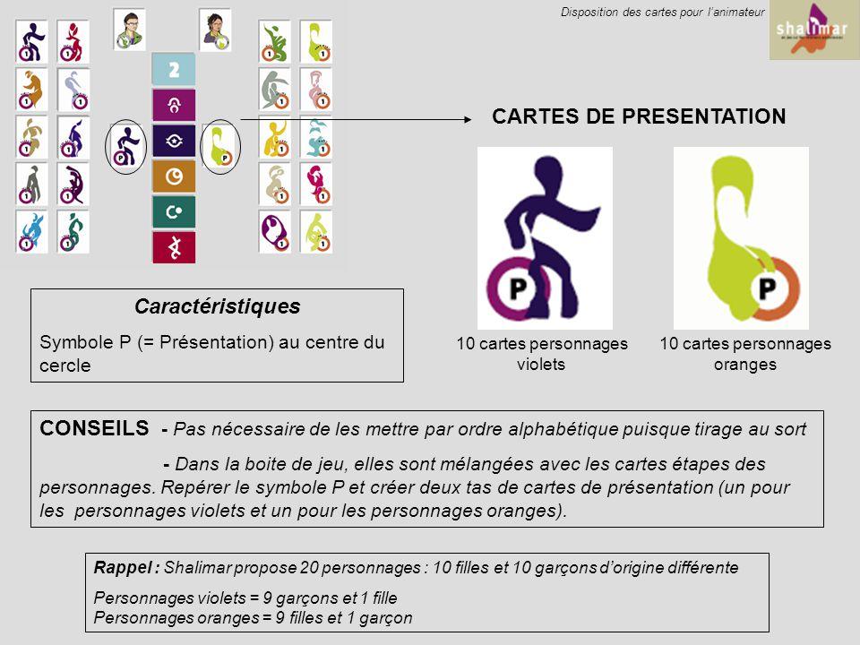 CARTES DE PRESENTATION 10 cartes personnages violets 10 cartes personnages oranges Caractéristiques Symbole P (= Présentation) au centre du cercle CONSEILS - Pas nécessaire de les mettre par ordre alphabétique puisque tirage au sort - Dans la boite de jeu, elles sont mélangées avec les cartes étapes des personnages.