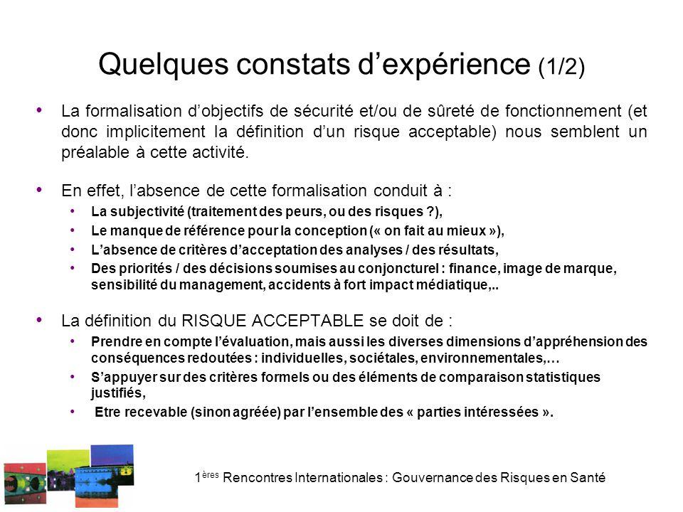 1 ères Rencontres Internationales : Gouvernance des Risques en Santé Quelques constats d'expérience (1/2) La formalisation d'objectifs de sécurité et/