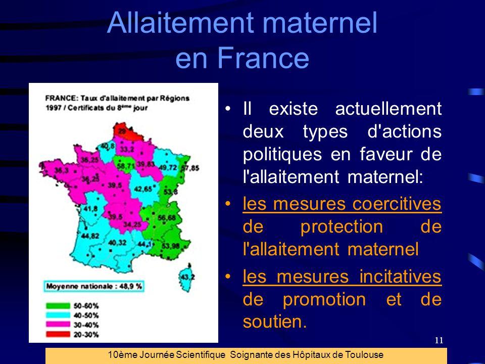 11 Allaitement maternel en France Il existe actuellement deux types d'actions politiques en faveur de l'allaitement maternel: les mesures coercitives
