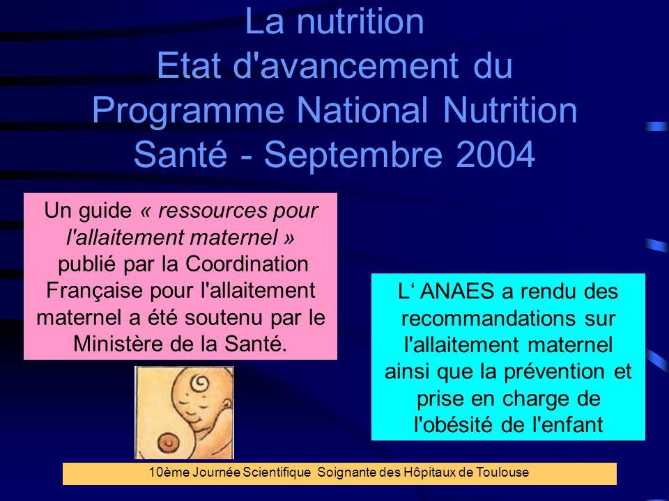 12 La nutrition Etat d'avancement du Programme National Nutrition Santé - Septembre 2004 Un guide « ressources pour l'allaitement maternel » publié pa