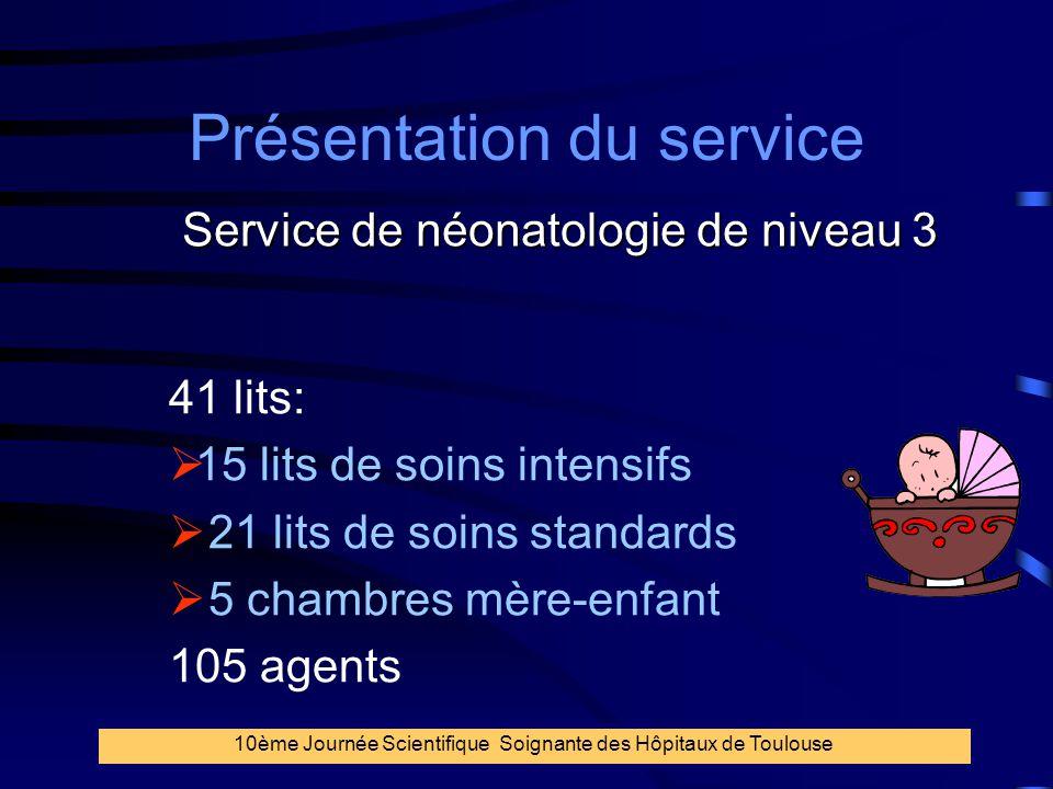 15 Présentation du service 41 lits:  15 lits de soins intensifs  21 lits de soins standards  5 chambres mère-enfant 105 agents Service de néonatolo