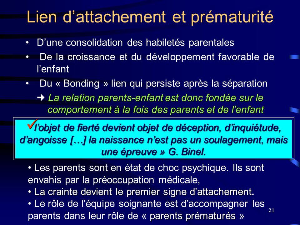 21 Lien d'attachement et prématurité D'une consolidation des habiletés parentales De la croissance et du développement favorable de l'enfant Du « Bond