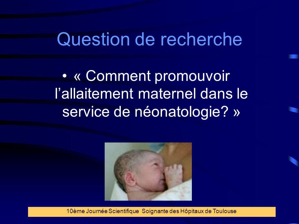 3 Question de recherche « Comment promouvoir l'allaitement maternel dans le service de néonatologie? » 10ème Journée Scientifique Soignante des Hôpita