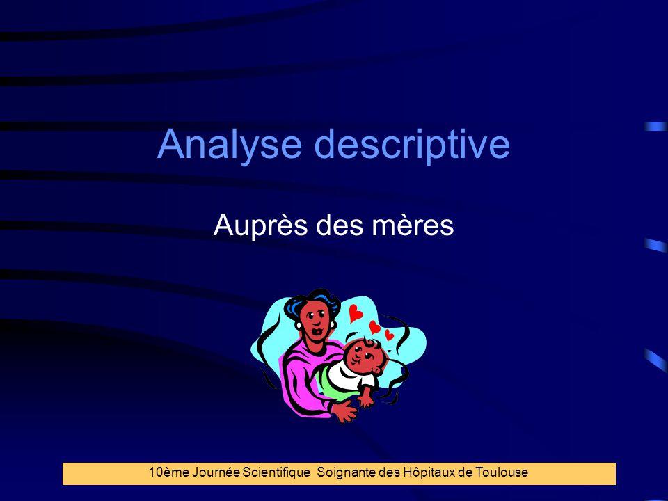 31 Analyse descriptive Auprès des mères 10ème Journée Scientifique Soignante des Hôpitaux de Toulouse