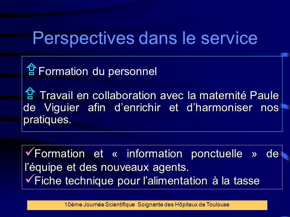 39 Perspectives dans le service  Formation du personnel  Travail en collaboration avec la maternité Paule de Viguier afin d'enrichir et d'harmoniser
