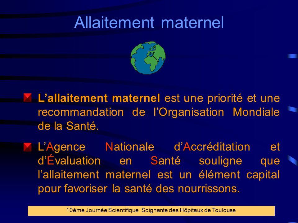 5 Allaitement maternel OM S L'allaitement maternel est une priorité et une recommandation de l'Organisation Mondiale de la Santé. ANA ÉS L'Agence Nati