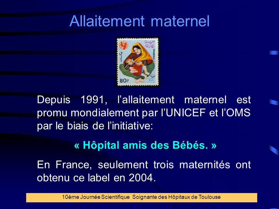 6 Allaitement maternel 10ème Journée Scientifique Soignante des Hôpitaux de Toulouse Depuis 1991, l'allaitement maternel est promu mondialement par l'