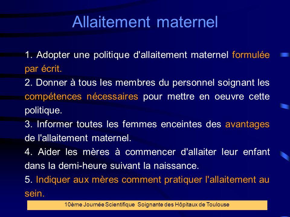 7 Allaitement maternel 10ème Journée Scientifique Soignante des Hôpitaux de Toulouse 1. Adopter une politique d'allaitement maternel formulée par écri