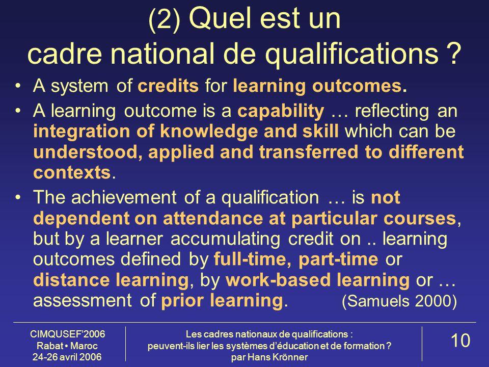 CIMQUSEF'2006 Rabat Maroc 24-26 avril 2006 Les cadres nationaux de qualifications : peuvent-ils lier les systèmes d'éducation et de formation .
