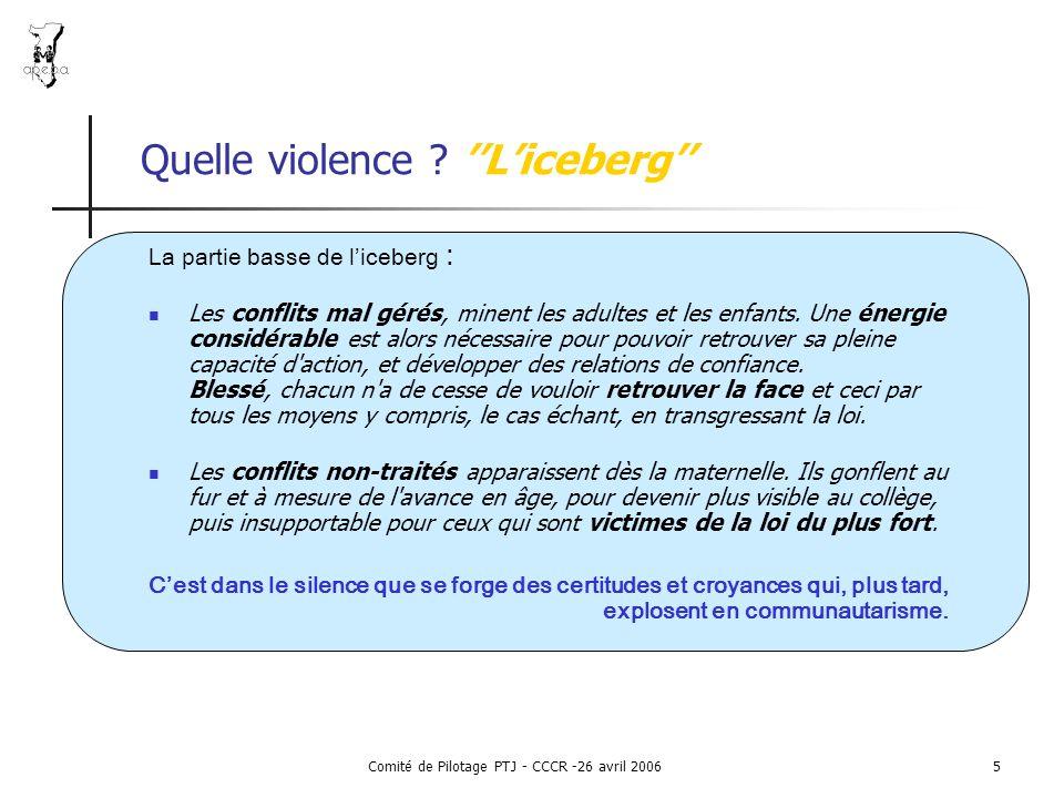 Comité de Pilotage PTJ - CCCR -26 avril 20065 Quelle violence .