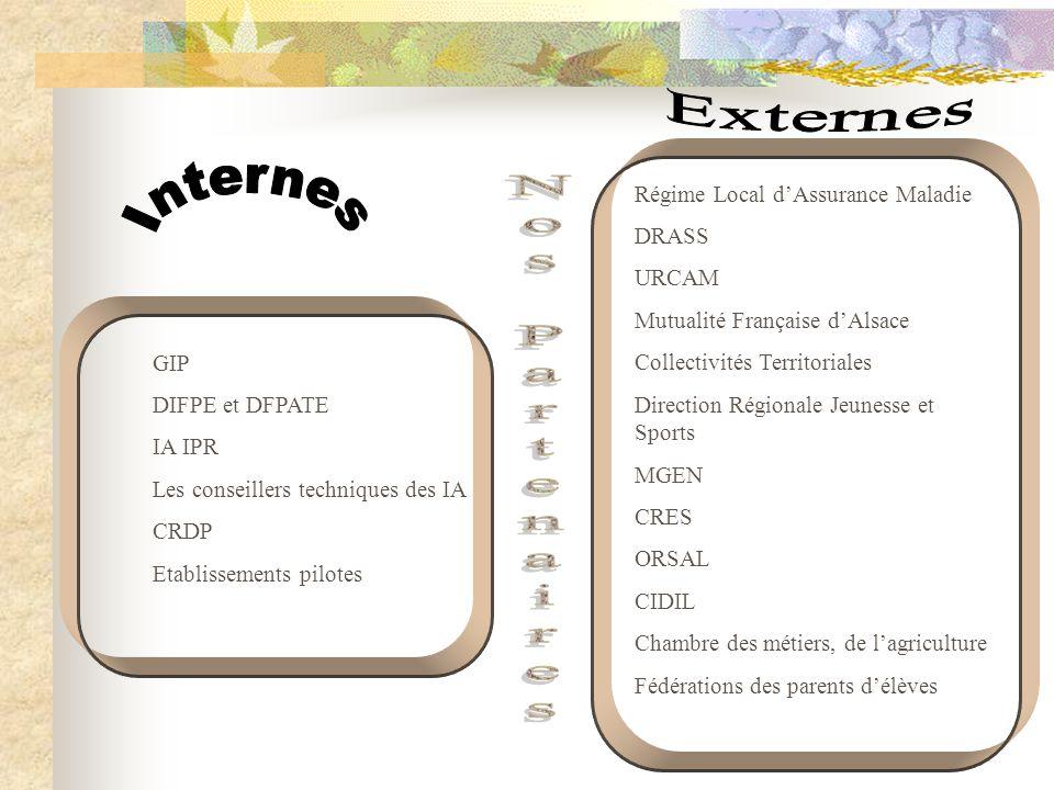 GIP DIFPE et DFPATE IA IPR Les conseillers techniques des IA CRDP Etablissements pilotes Régime Local d'Assurance Maladie DRASS URCAM Mutualité França
