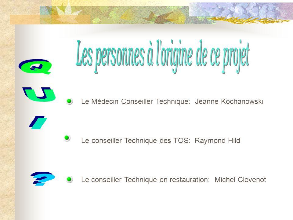 Le Médecin Conseiller Technique: Jeanne Kochanowski Le conseiller Technique en restauration: Michel Clevenot Le conseiller Technique des TOS: Raymond
