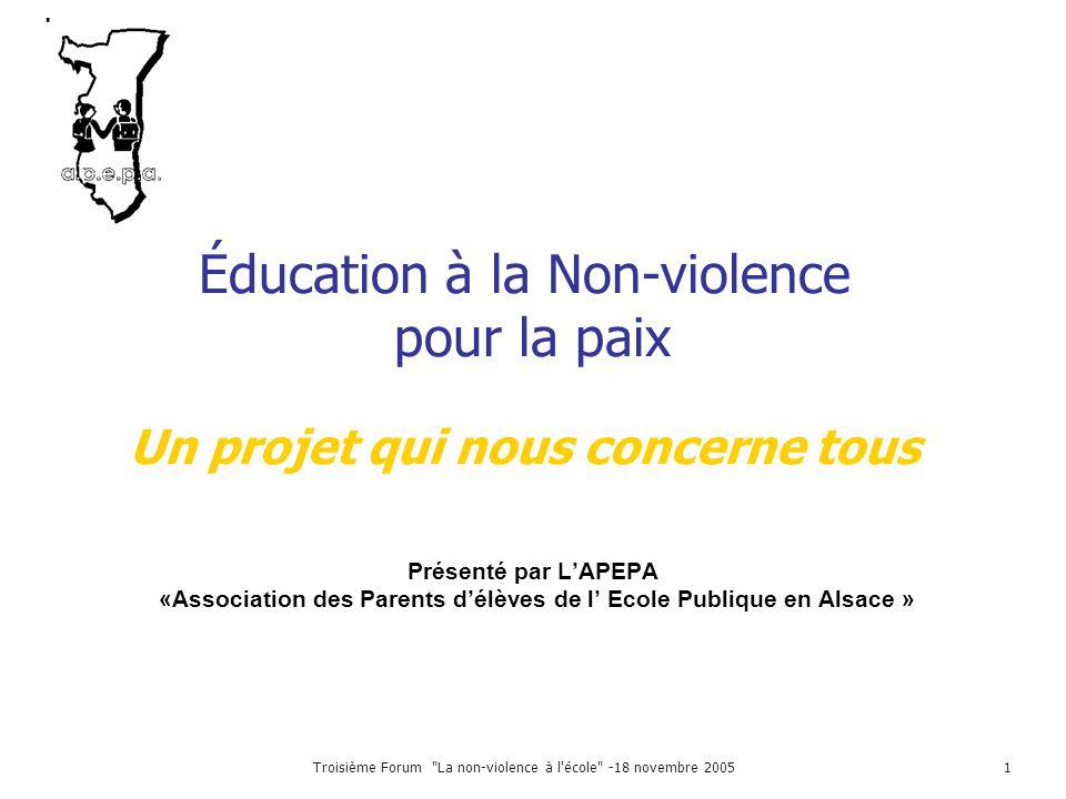 Troisième Forum La non-violence à l école -18 novembre 20052 Pour devenir Adulte Citoyen Parent Éducateur L'enfant Les Parents La cité L'école Qui éduque .