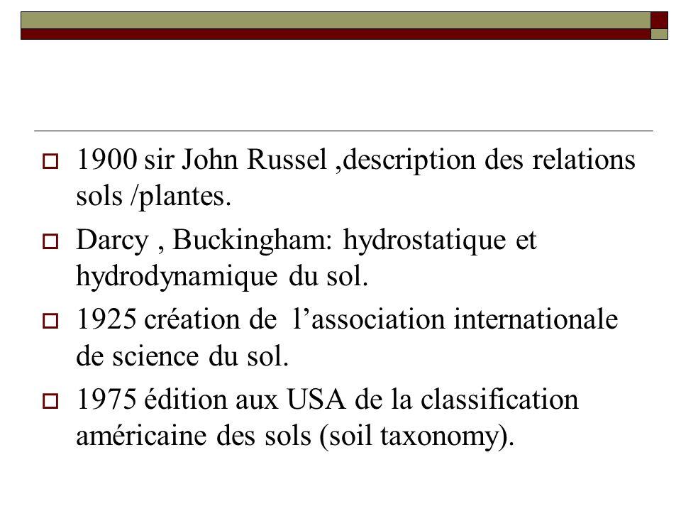  1900 sir John Russel,description des relations sols /plantes.