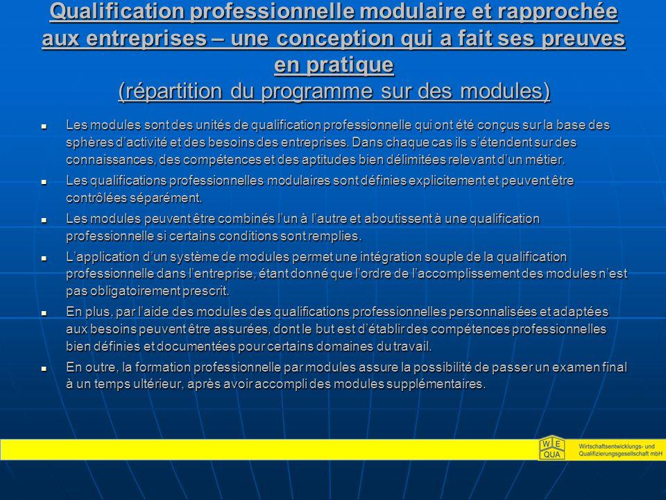 Qualification professionnelle modulaire et rapprochée aux entreprises – une conception qui a fait ses preuves en pratique (répartition du programme sur des modules) Les modules sont des unités de qualification professionnelle qui ont été conçus sur la base des sphères d'activité et des besoins des entreprises.