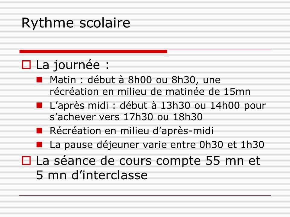 Rythme scolaire  La journée : Matin : début à 8h00 ou 8h30, une récréation en milieu de matinée de 15mn L'après midi : début à 13h30 ou 14h00 pour s'achever vers 17h30 ou 18h30 Récréation en milieu d'après-midi La pause déjeuner varie entre 0h30 et 1h30  La séance de cours compte 55 mn et 5 mn d'interclasse