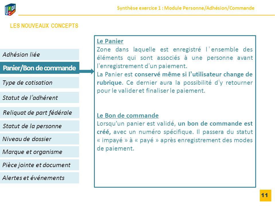 11 Adhésion liée Niveau de dossier Panier/Bon de commande Alertes et événements Statut de l'adhérent Type de cotisation Reliquat de part fédérale Pièc