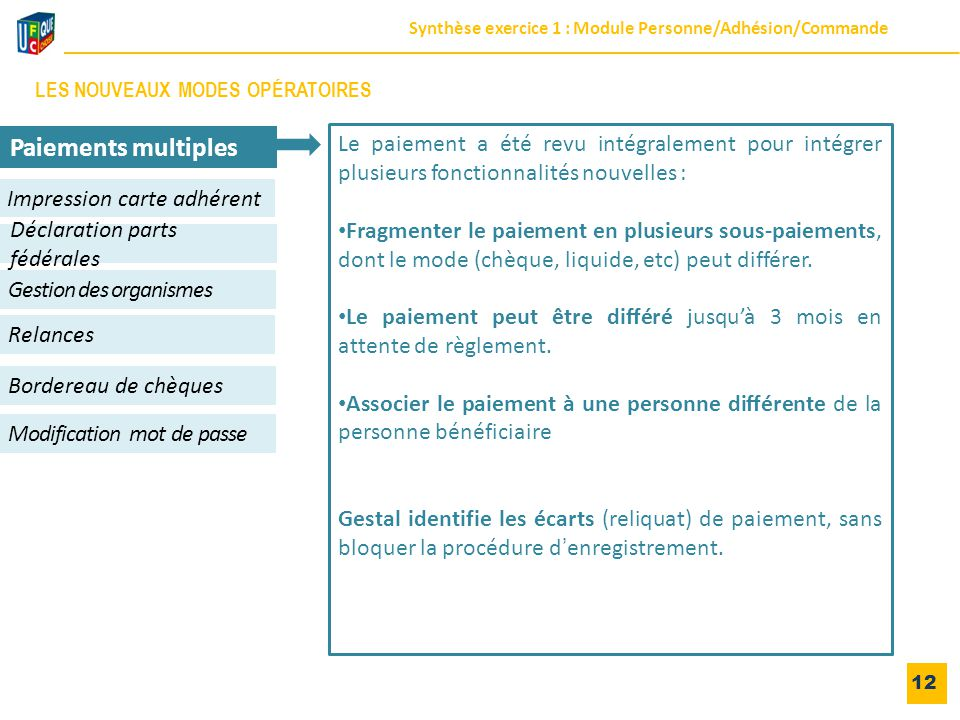 12 Impression carte adhérent Gestion des organismes Relances Déclaration parts fédérales Modification mot de passe Paiements multiples Bordereau de ch