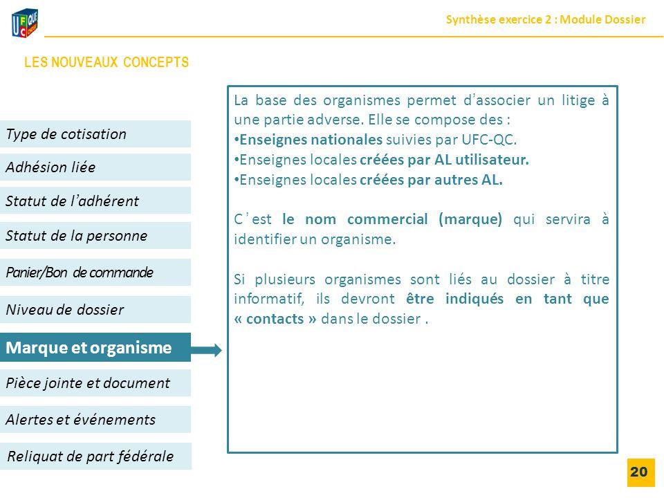 20 Adhésion liée Niveau de dossier Panier/Bon de commande Alertes et événements Statut de l'adhérent Type de cotisation Reliquat de part fédérale Pièc