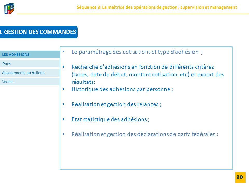 29 Dons Abonnements au bulletin Ventes Le paramétrage des cotisations et type d'adhésion ; Recherche d'adhésions en fonction de différents critères (t
