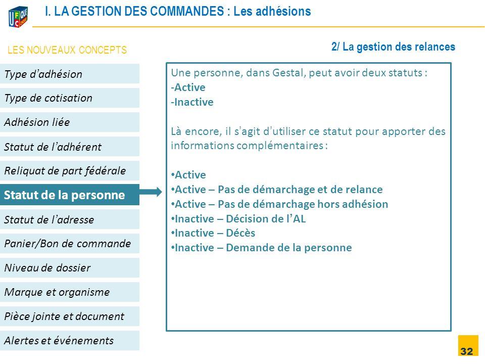 32 Adhésion liée Niveau de dossier Panier/Bon de commande Alertes et événements Statut de l'adhérent Type d'adhésion Type de cotisation Statut de l'ad